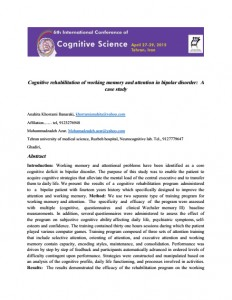 Cognitive rehabilitation of working memory and attention in bipolar disorder: A case study
